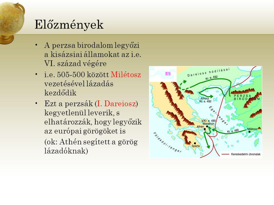 Előzmények A perzsa birodalom legyőzi a kisázsiai államokat az i.e. VI. század végére. i.e. 505-500 között Milétosz vezetésével lázadás kezdődik.