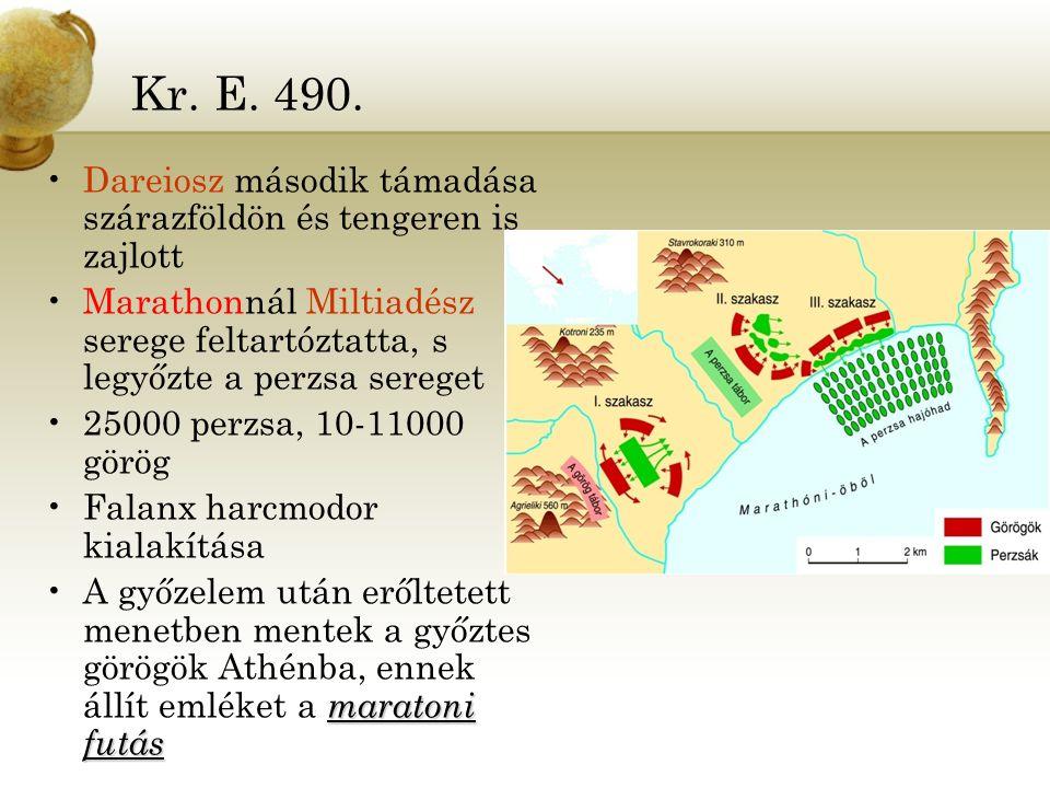 Kr. E. 490. Dareiosz második támadása szárazföldön és tengeren is zajlott. Marathonnál Miltiadész serege feltartóztatta, s legyőzte a perzsa sereget.