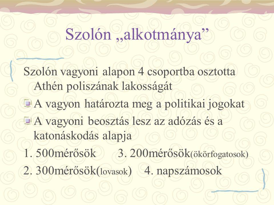 """Szolón """"alkotmánya Szolón vagyoni alapon 4 csoportba osztotta Athén poliszának lakosságát. A vagyon határozta meg a politikai jogokat."""