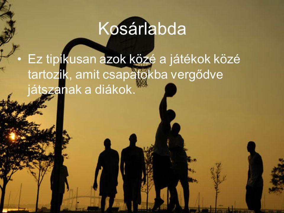 Kosárlabda Ez tipikusan azok közé a játékok közé tartozik, amit csapatokba vergődve játszanak a diákok.