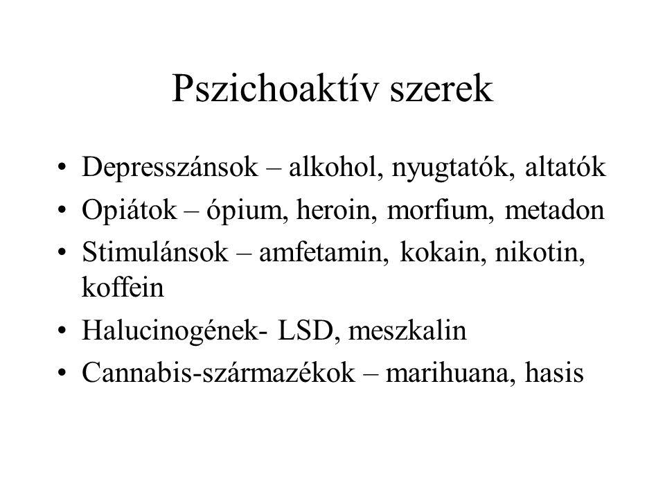 Pszichoaktív szerek Depresszánsok – alkohol, nyugtatók, altatók
