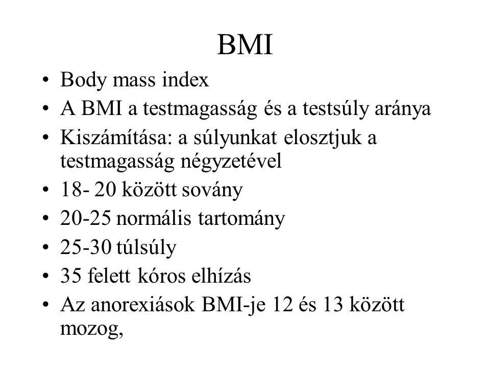 BMI Body mass index A BMI a testmagasság és a testsúly aránya