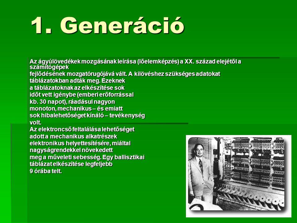 1. Generáció Az ágyúlövedékek mozgásának leírása (lőelemképzés) a XX. század elejétől a számítógépek.