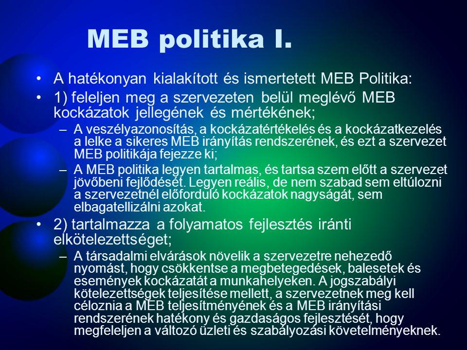 MEB politika I. A hatékonyan kialakított és ismertetett MEB Politika: