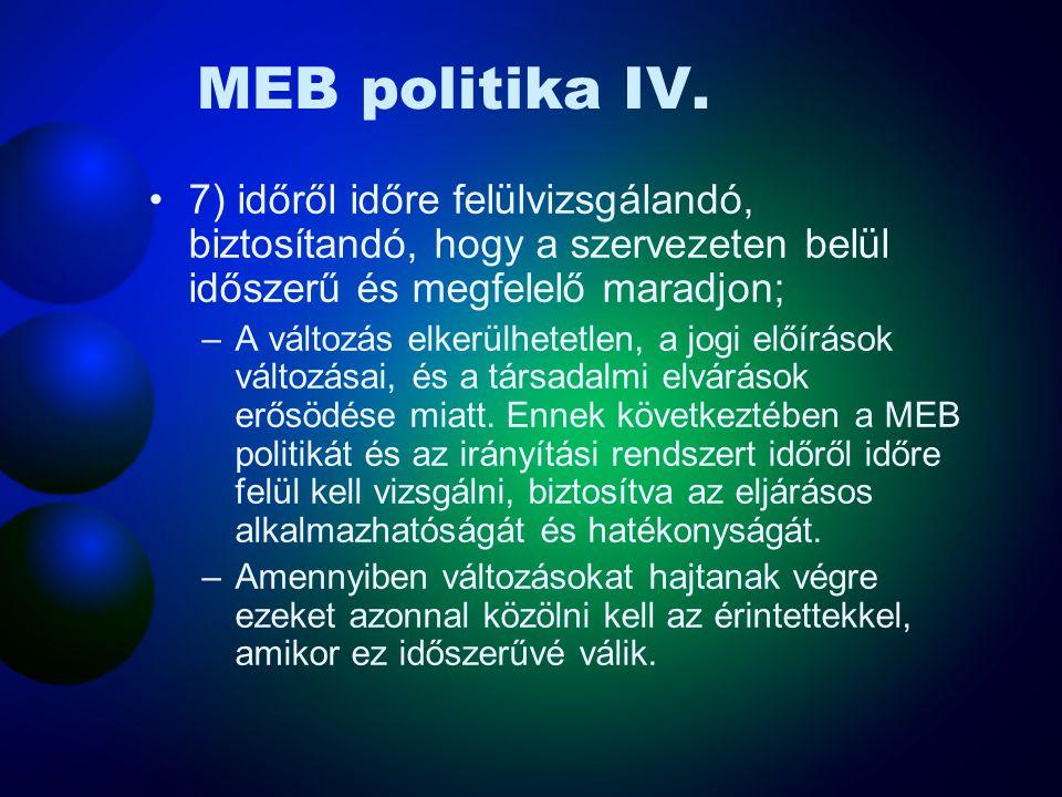 MEB politika IV. 7) időről időre felülvizsgálandó, biztosítandó, hogy a szervezeten belül időszerű és megfelelő maradjon;