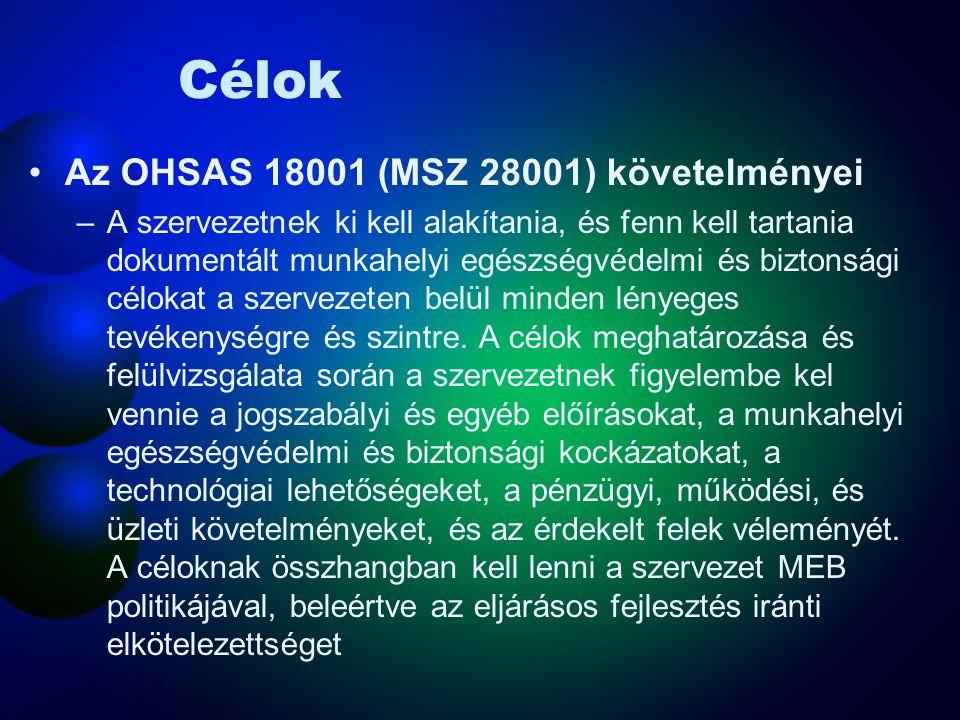 Célok Az OHSAS 18001 (MSZ 28001) követelményei