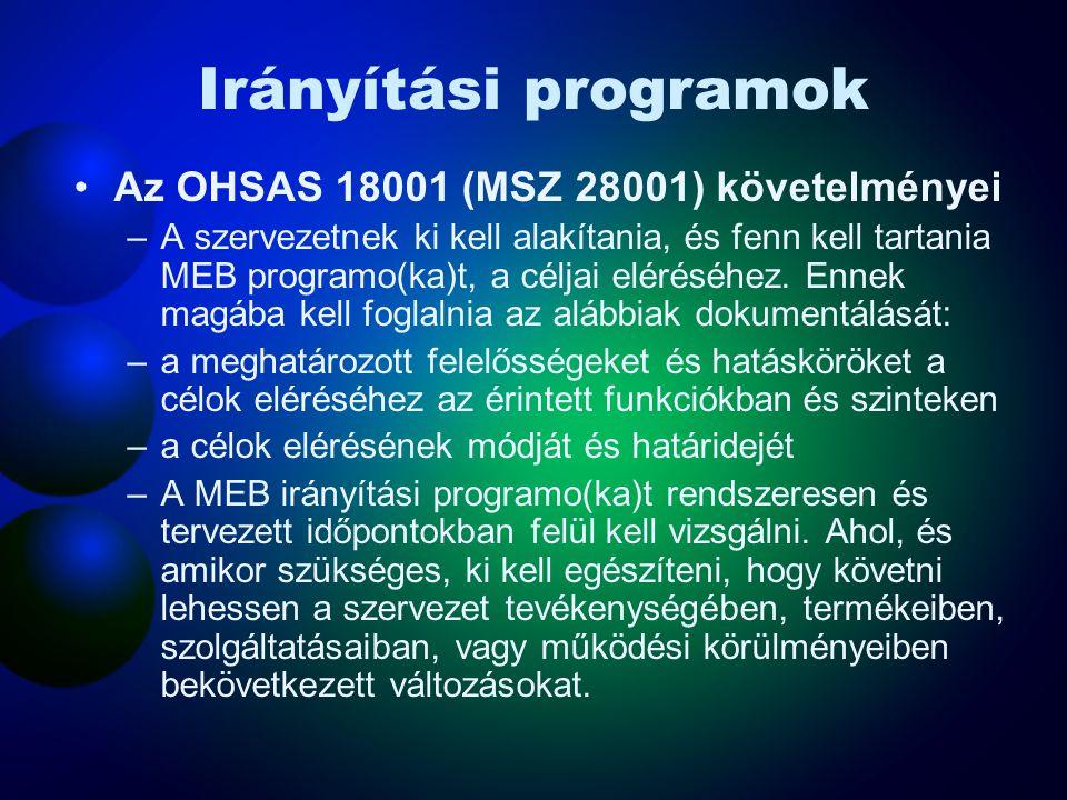 Irányítási programok Az OHSAS 18001 (MSZ 28001) követelményei