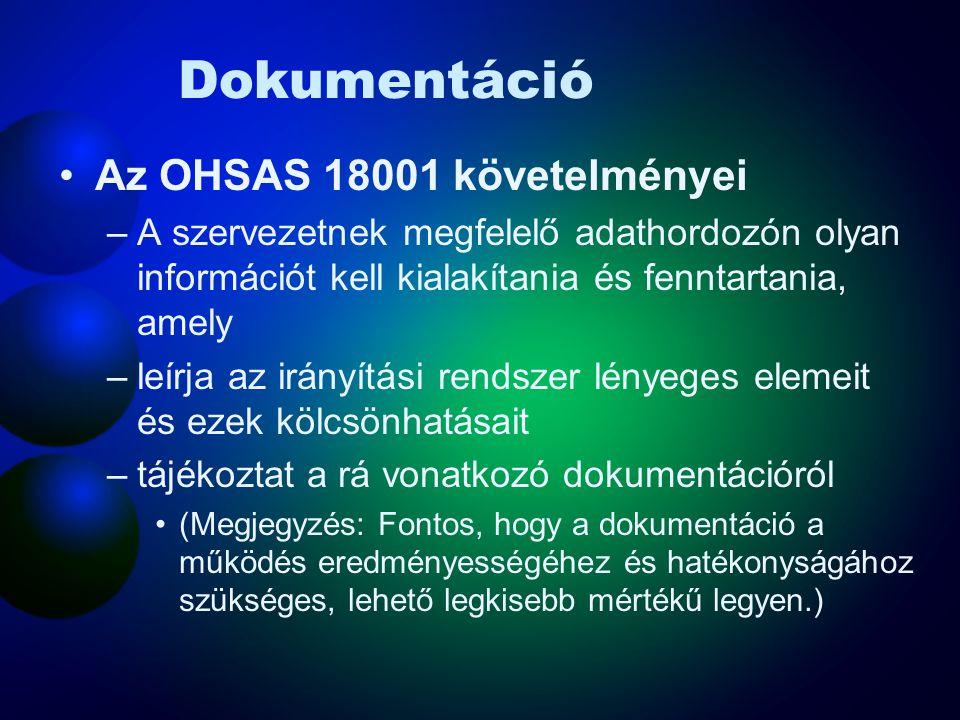 Dokumentáció Az OHSAS 18001 követelményei