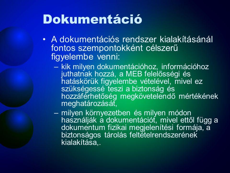Dokumentáció A dokumentációs rendszer kialakításánál fontos szempontokként célszerű figyelembe venni:
