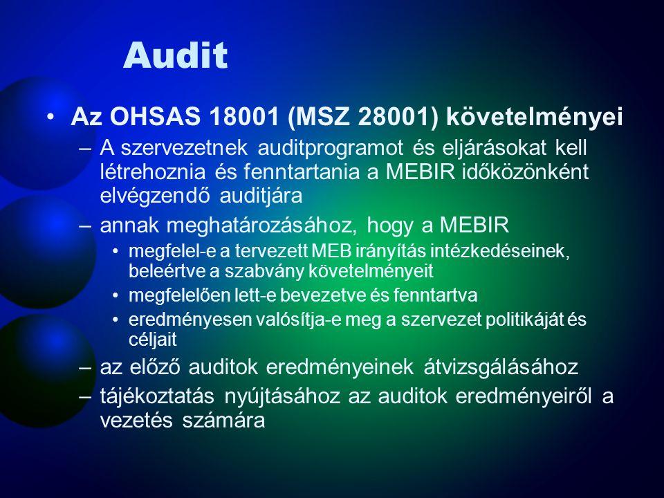 Audit Az OHSAS 18001 (MSZ 28001) követelményei