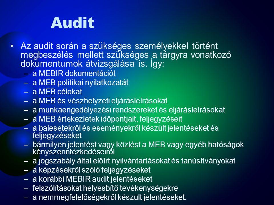 Audit Az audit során a szükséges személyekkel történt megbeszélés mellett szükséges a tárgyra vonatkozó dokumentumok átvizsgálása is. Így: