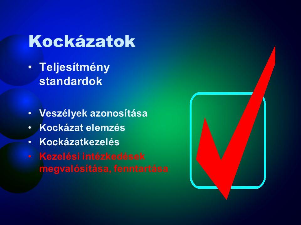 Kockázatok Teljesítmény standardok Veszélyek azonosítása