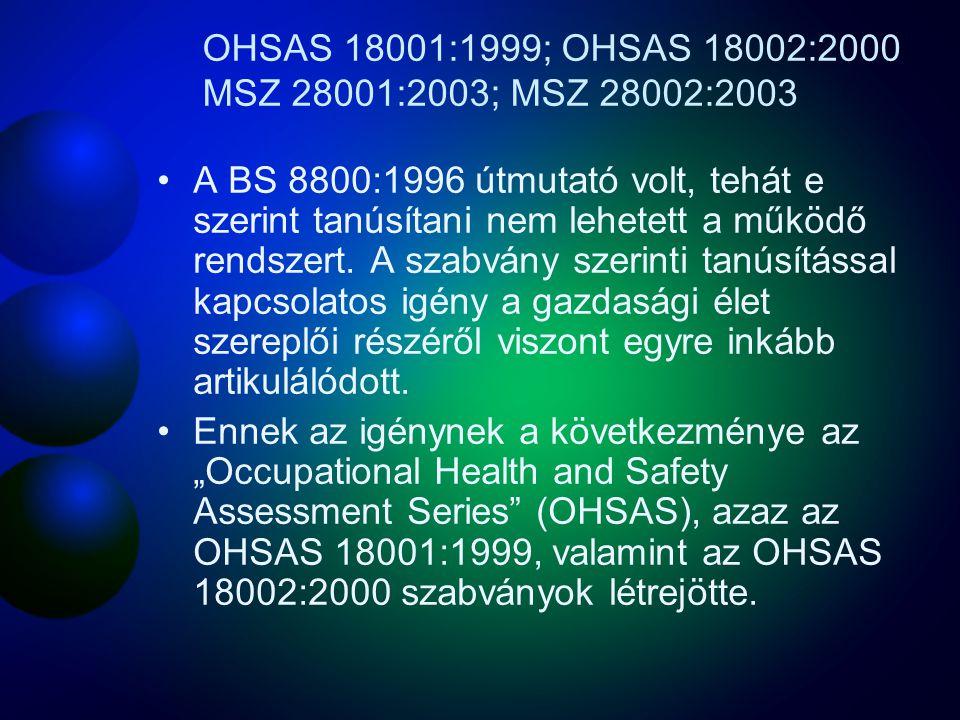 OHSAS 18001:1999; OHSAS 18002:2000 MSZ 28001:2003; MSZ 28002:2003