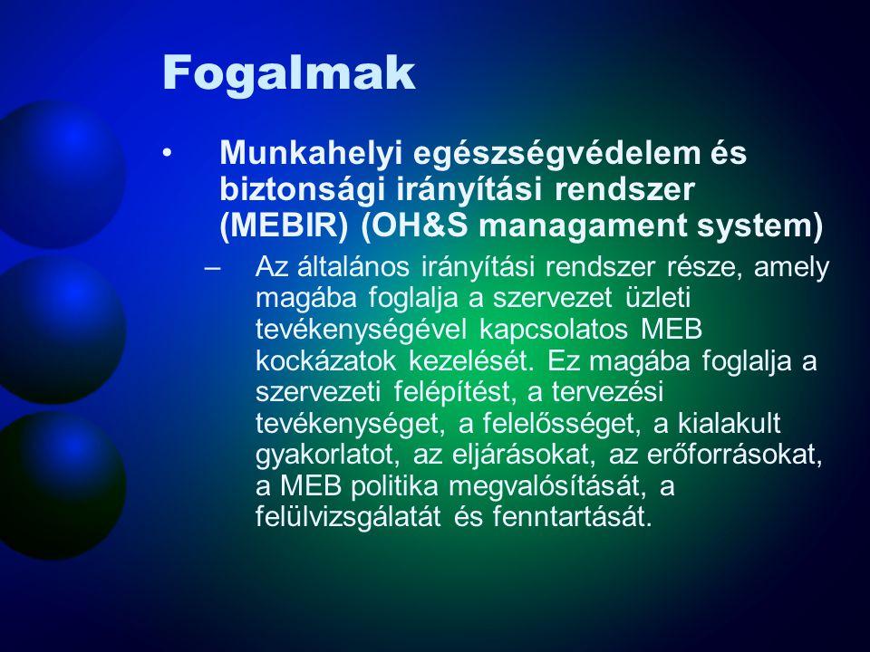 Fogalmak Munkahelyi egészségvédelem és biztonsági irányítási rendszer (MEBIR) (OH&S managament system)