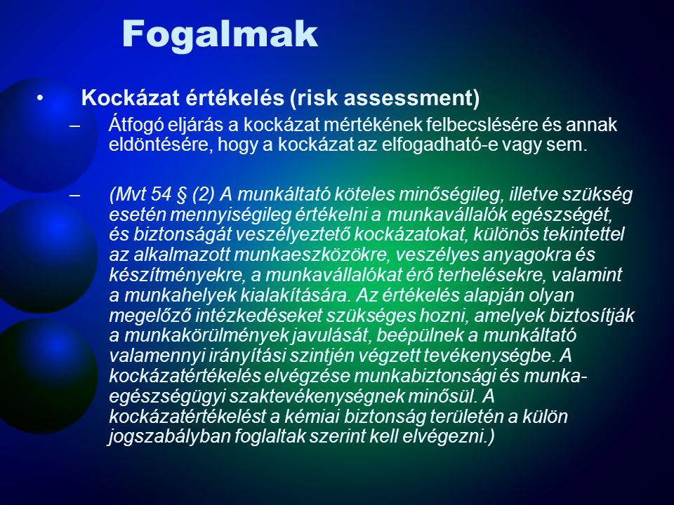 Fogalmak Kockázat értékelés (risk assessment)