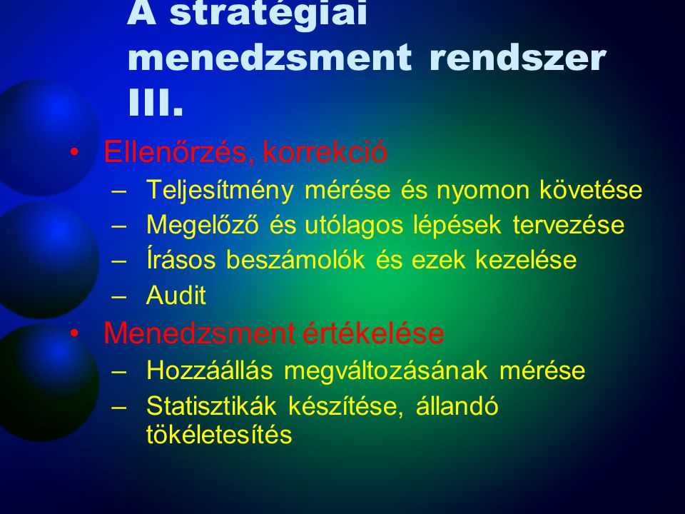 A stratégiai menedzsment rendszer III.