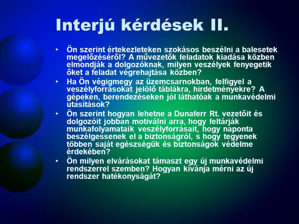 Interjú kérdések II.