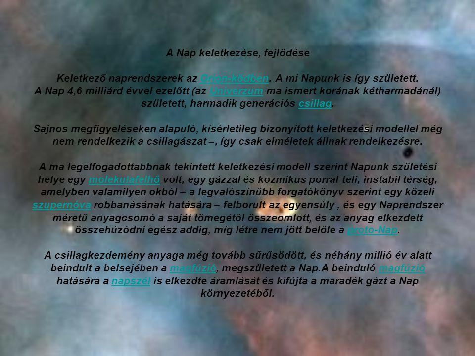 A Nap keletkezése, fejlődése Keletkező naprendszerek az Orion-ködben