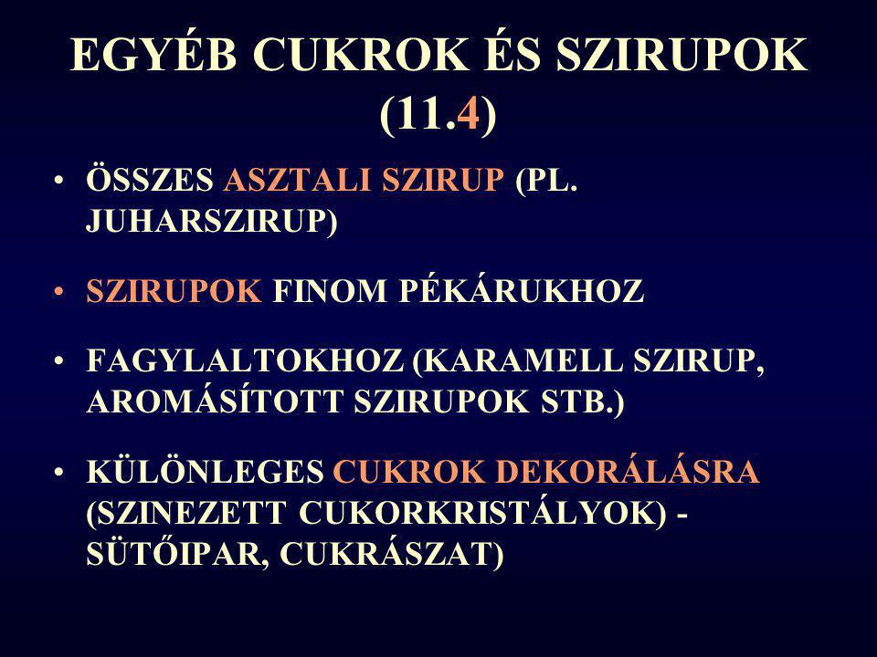 EGYÉB CUKROK ÉS SZIRUPOK (11.4)