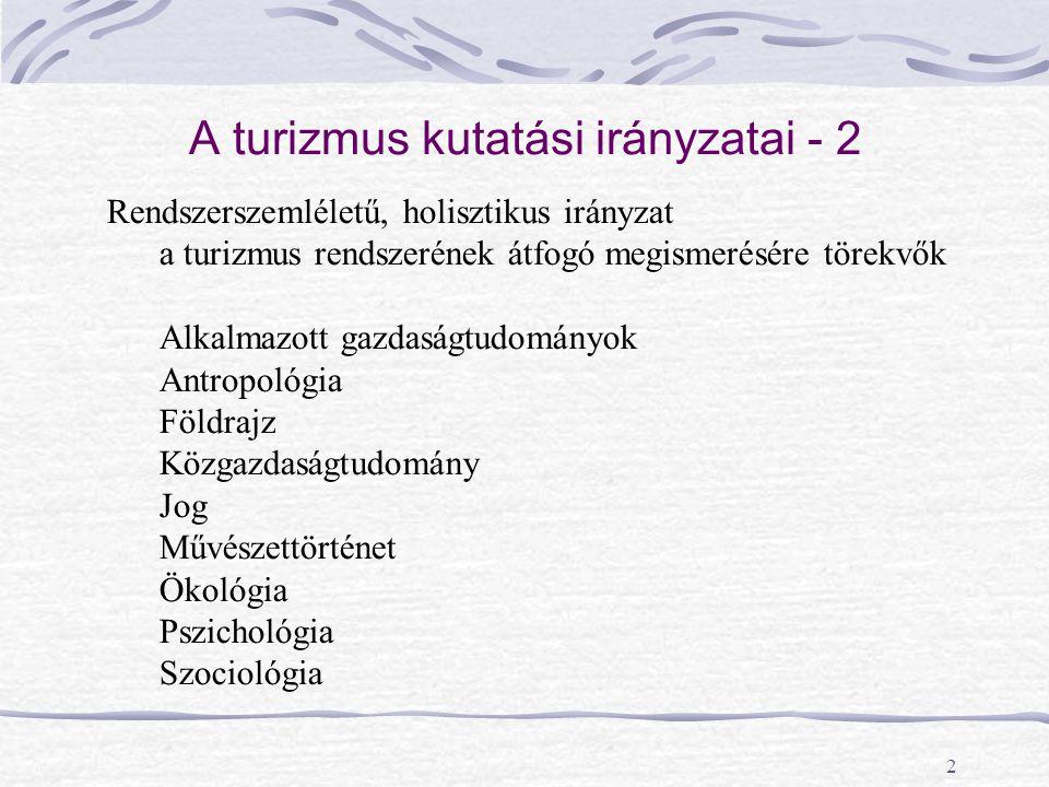 A turizmus kutatási irányzatai - 2
