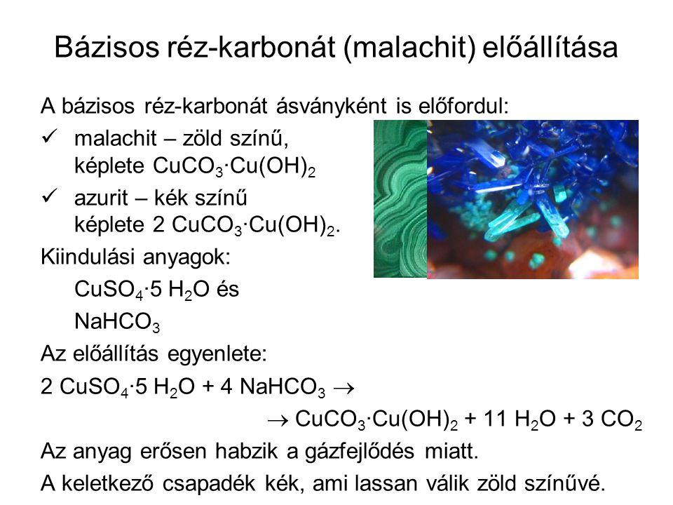 Bázisos réz-karbonát (malachit) előállítása