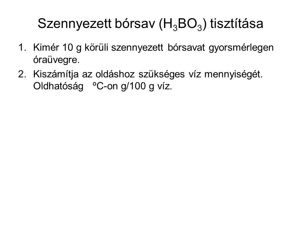 Szennyezett bórsav (H3BO3) tisztítása