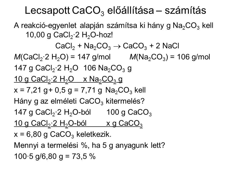Lecsapott CaCO3 előállítása – számítás