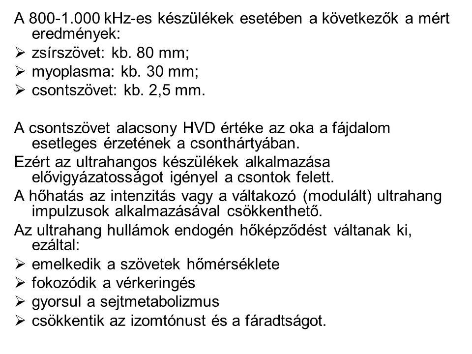 A 800-1.000 kHz-es készülékek esetében a következők a mért eredmények: