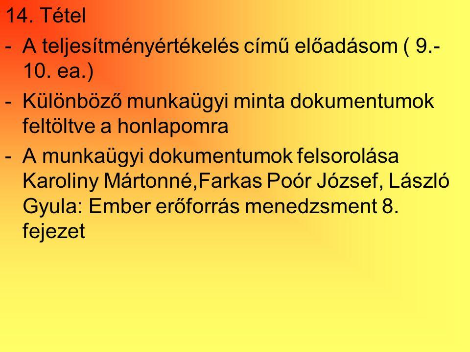 14. Tétel A teljesítményértékelés című előadásom ( 9.-10. ea.) Különböző munkaügyi minta dokumentumok feltöltve a honlapomra.