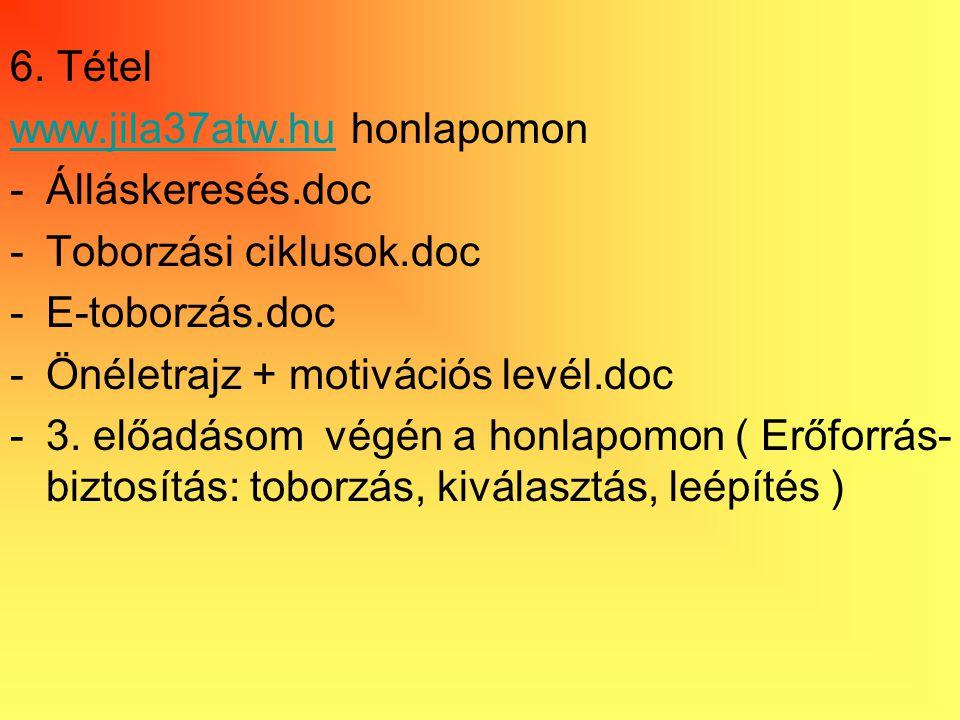 6. Tétel www.jila37atw.hu honlapomon. Álláskeresés.doc. Toborzási ciklusok.doc. E-toborzás.doc. Önéletrajz + motivációs levél.doc.