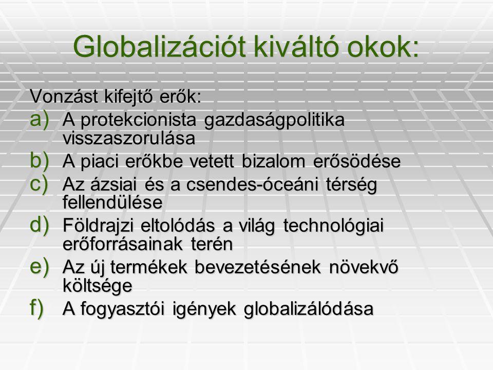 Globalizációt kiváltó okok: