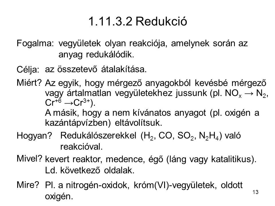 1.11.3.2 Redukció Fogalma: Célja: Miért Hogyan Mivel Mire