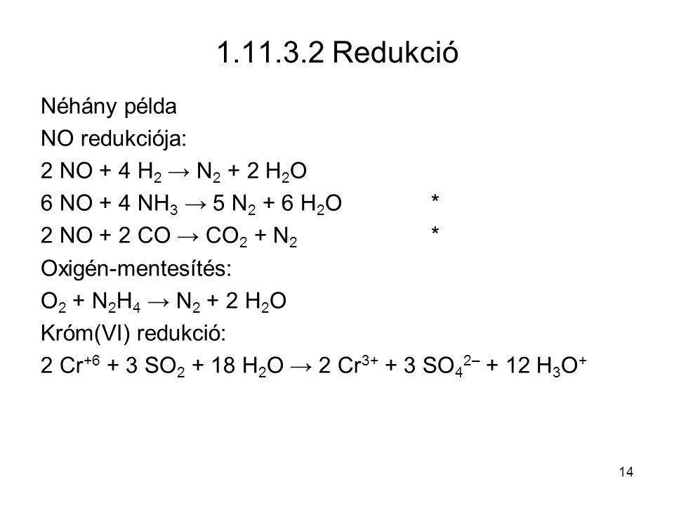 1.11.3.2 Redukció Néhány példa NO redukciója: 2 NO + 4 H2 → N2 + 2 H2O