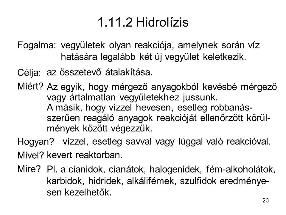 1.11.2 Hidrolízis Fogalma: Célja: Miért Hogyan Mivel Mire