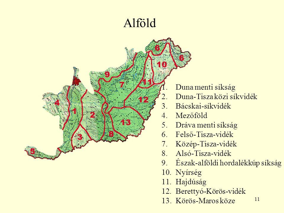 Alföld Duna menti síkság Duna-Tisza közi síkvidék Bácskai-síkvidék