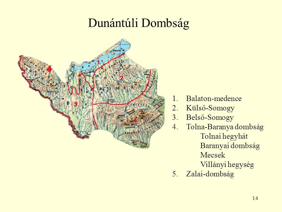 Dunántúli Dombság 5 Balaton-medence Külső-Somogy Belső-Somogy