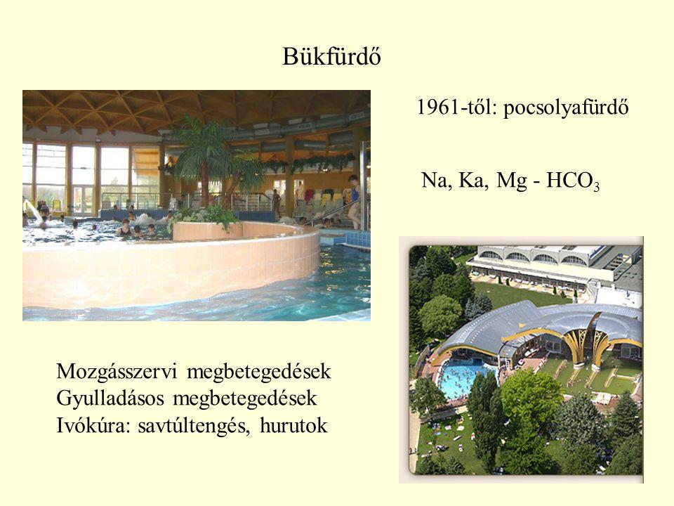 Bükfürdő 1961-től: pocsolyafürdő Na, Ka, Mg - HCO3