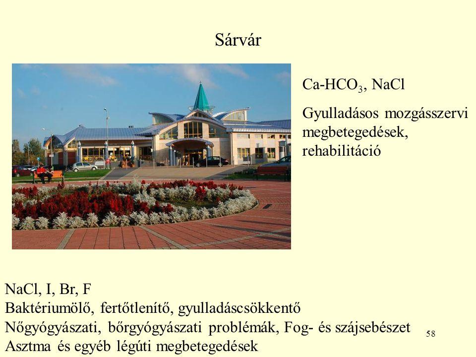 Sárvár Ca-HCO3, NaCl. Gyulladásos mozgásszervi megbetegedések, rehabilitáció. NaCl, I, Br, F. Baktériumölő, fertőtlenítő, gyulladáscsökkentő.