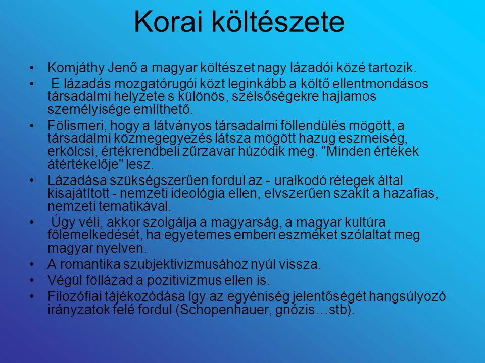 Korai költészete Komjáthy Jenő a magyar költészet nagy lázadói közé tartozik.