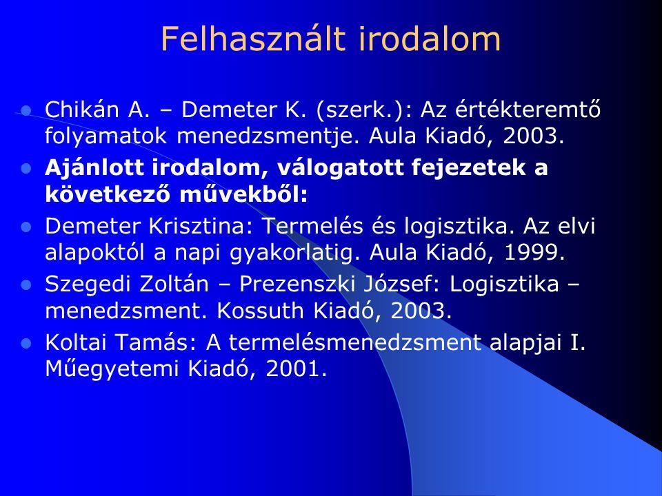 Felhasznált irodalom Chikán A. – Demeter K. (szerk.): Az értékteremtő folyamatok menedzsmentje. Aula Kiadó, 2003.