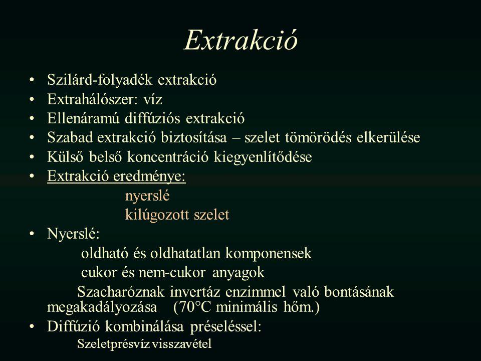 Extrakció Szilárd-folyadék extrakció Extrahálószer: víz