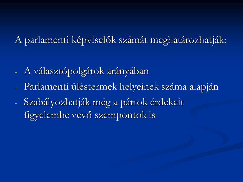 A parlamenti képviselők számát meghatározhatják: