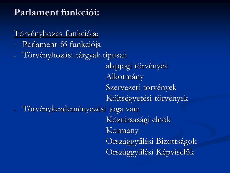 Parlament funkciói: Törvényhozás funkciója: Parlament fő funkciója