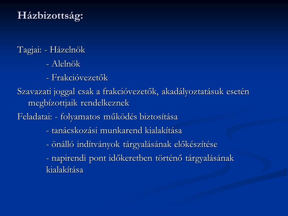 Házbizottság: Tagjai: - Házelnök - Alelnök - Frakcióvezetők