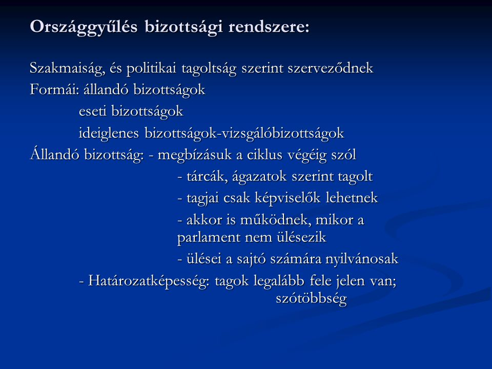 Országgyűlés bizottsági rendszere: