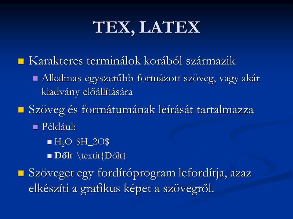 TEX, LATEX Karakteres terminálok korából származik