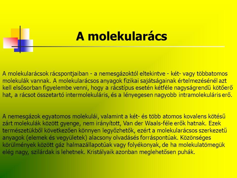 A molekularács A molekularácsok rácspontjaiban - a nemesgázoktól eltekintve - két- vagy többatomos.