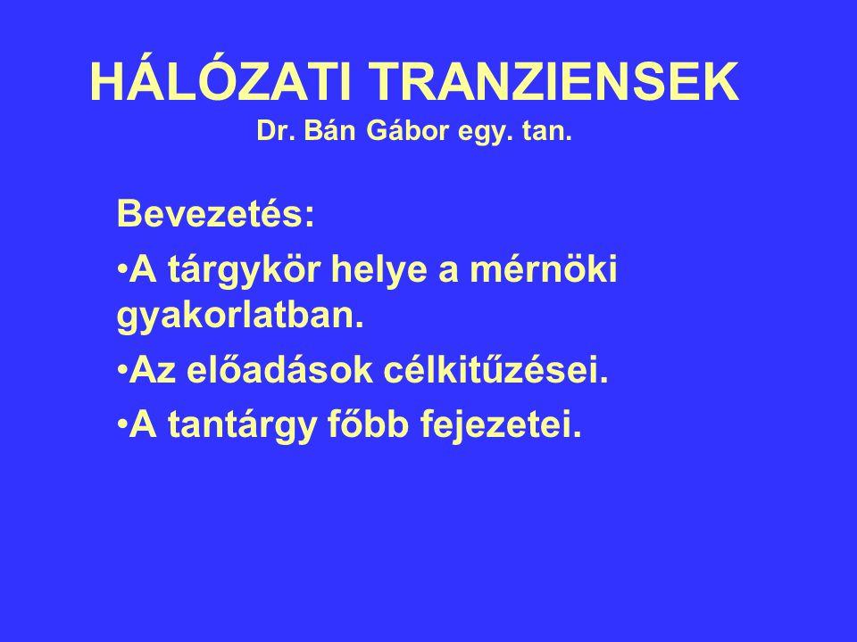 HÁLÓZATI TRANZIENSEK Dr. Bán Gábor egy. tan.