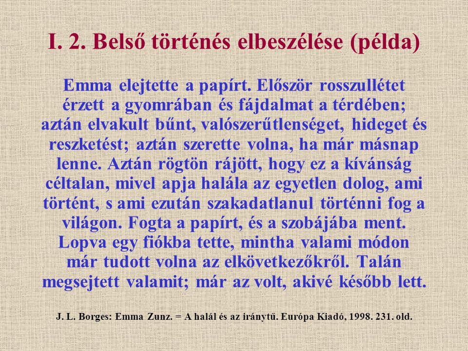 I. 2. Belső történés elbeszélése (példa) Emma elejtette a papírt