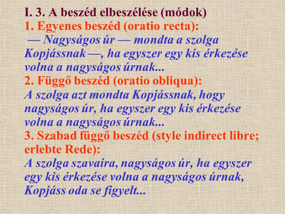 I. 3. A beszéd elbeszélése (módok) 1